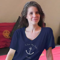 Sailor Anchor on an Xtra Long Tee Shirt with your personalization for Navy Wives
