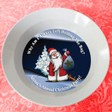 Santa Holding a Gift Sack with a perplexed look on his face on a custom bowl with any text