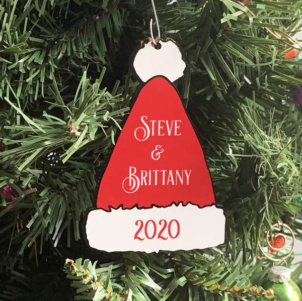Printed Santa Hat Ornament with your name and year or custom text with White / Red Personalized Text