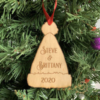 Wood Engraved Santa Hat Shaped Christmas Ornament Personalized