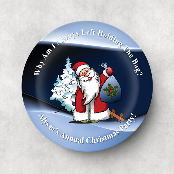 Santa Holding a Gift Sack with a perplexed look on his face on a custom plate with any text