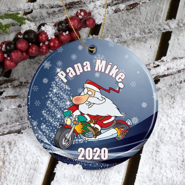 Santa on a motorcycle porcelain ornament personalized for grandpa or any biker with name or title and year or cutom text.