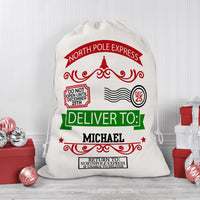 Santa Sack Large Draw String Bag with North Pole Express Design and Any Name Personalized