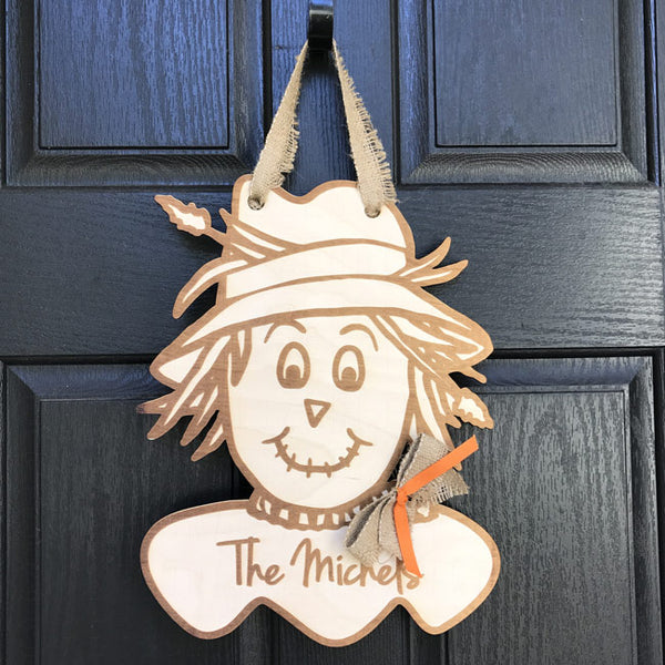 Laser Cut and Engraved Scarecrow Personalized Fall Door Decoration