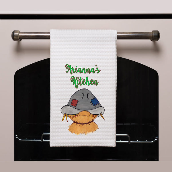 Waffle weave Towel with Autumn Scarecrow Design and your personalization