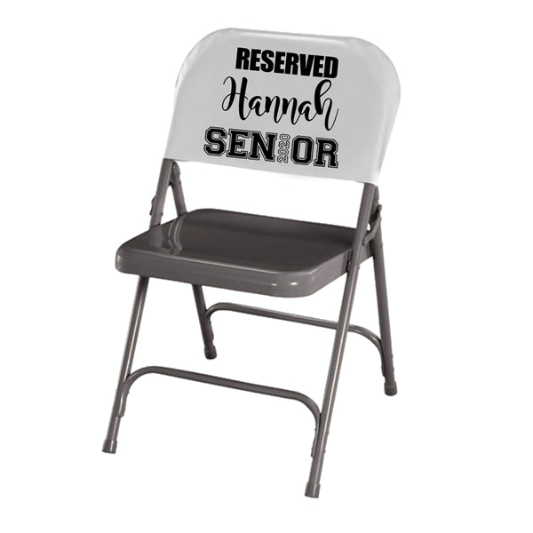 Reserved Senior 2020 where 2020 represents the i in Senior shows full chair