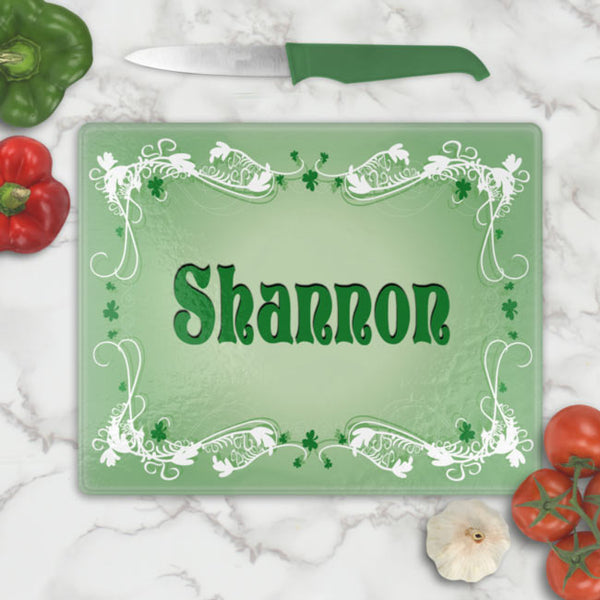 Wispy Shamrock Scroll Corner Borders on a Tempered Glass Cutting Board with any name or custom text in the center