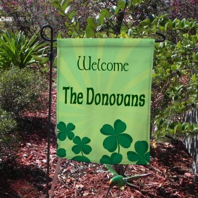 Shamrock Sunburst Welcome Yard Flags with your name or house number