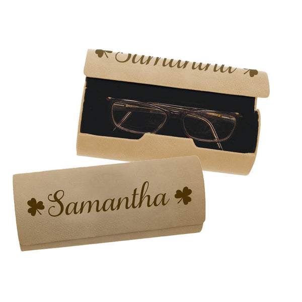 Your name surrounded by Shamrocks on a leather eyeglass case.