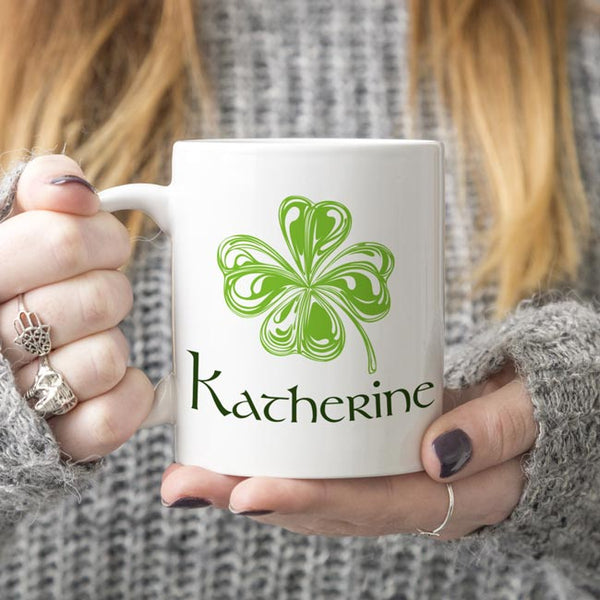 Coffee Mug Wispy Shamrock Personalized Mugs With Your Name