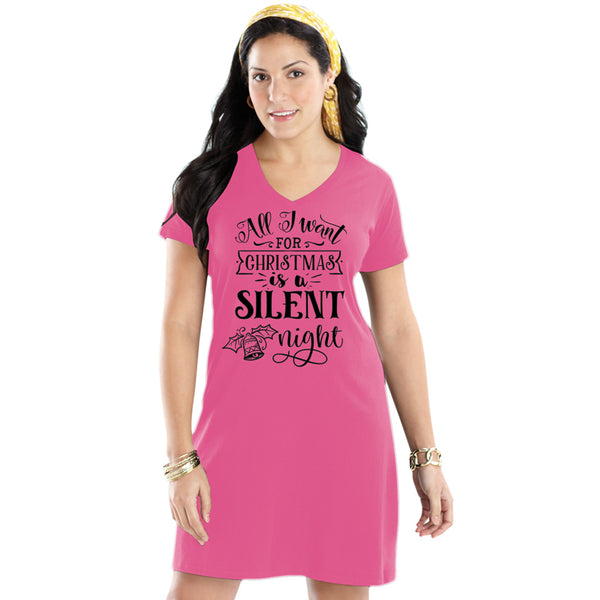 All I want for Christmas is a Silent Night Extra Long Tee Shirt Cover Up