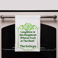 "Waffle Weave Towel 16"" x 24"" with Simple Shamrock Border, quote saying ""Laughter is the Brightest Where Food is The Best!"" and any name personalized"