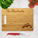 Snow Family Personalized Christmas Wood Cutting Boards with Handle