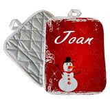 7x9 pot holder with red snowy background and cute snowman Personalized with any name