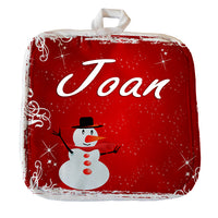 "8""x8"" pot holder with red snowy background and cute snowman Personalized with any name"