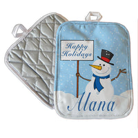 "7x9"" pot holder with cute snowman holding a sign with your winter greetings and you personalized name on the bottom"