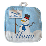 "8"" x 8"" pot holder with cute snowman holding a sign with your winter greetings and you personalized name on the bottom"