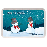 "Personalized Serving Tray 9.25"" x 14"" with cute snowmen on a winter hill with trees and your personalized message and name on top left and bottom right"