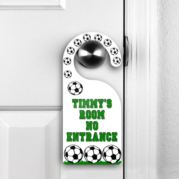 Soccer Theme Door Hanger Do Not Disturb Sign showing on door handle