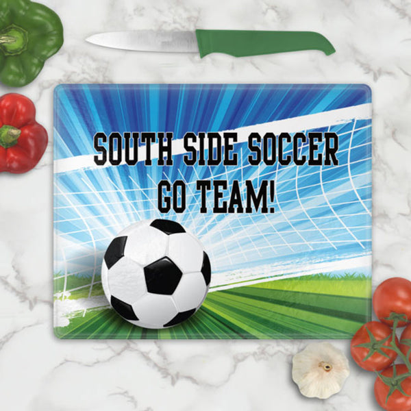 Soccer Theme Glass Cutting Boards Personalized with any name
