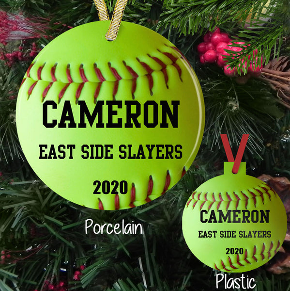 "Christmas Ornament with Softball design and three lines of personalized text on a porcelain or plastic 3"" Christmas Tree Ornament with ribbon for hanging"