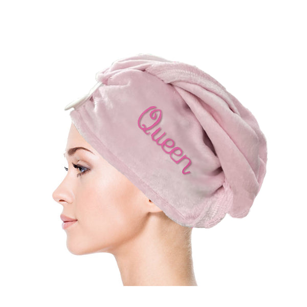 hair wrap towel buttoned on top with the word queen embroidered