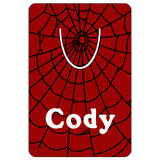 "2"" x 3"" bookmark with red background and black spider web. Name in White"
