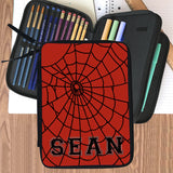 zippered compartment pencil and accessories case with red background, black spider web and any name