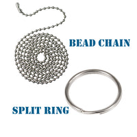 choose bead chain or split ring attachment