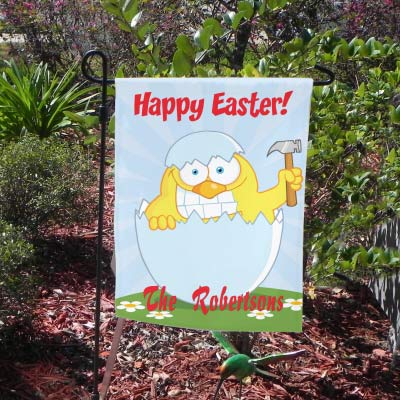 Chicken hatching out of egg by cracking it with a hammer. Funny Easter Yard Flag