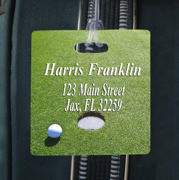square bag tag with golf green and your contact info