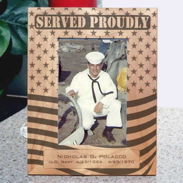 Served Proudly Tall Military Picture Frame with Navy Man photo
