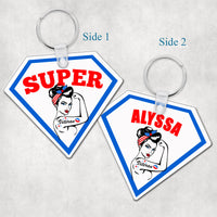 Super Veteran Personalized Key Ring - Rosie Inspired Diamond Shaped Key Chain