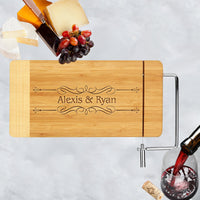 Personalized cheese board with swirl border and any names