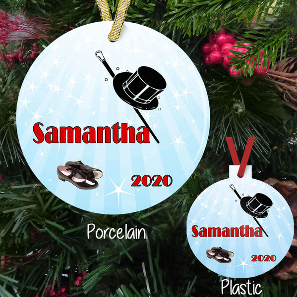 "Personalized Tap Dance Shoes, Hat and Cane Christmas Ornaments. Porcelain and Plastic 3"" round ornaments with your custom text."