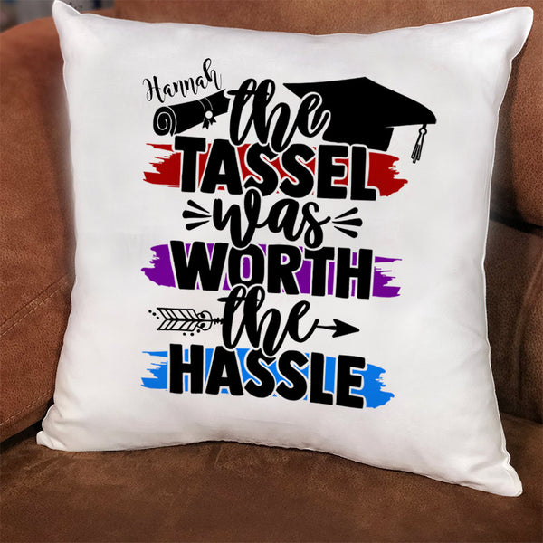 Graduation Decorative Throw Pillow Cover - The tassel was worth the hassle