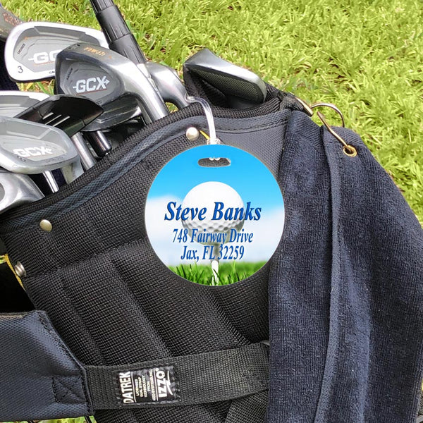 tee view bag tag shown on golf bag