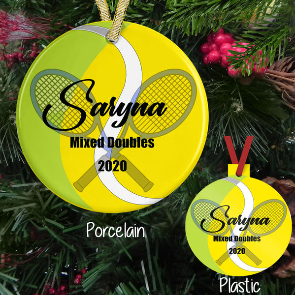 Personalized Tennis Ball and racket Christmas Ornament, showing both porcelain and plastic version of this personalized ornament with three areas of your text.