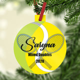 "Tennis Ball Design with crossed rackets personalized with name and two additional lines of text on a plastic 3"" Christmas ornaemnt"