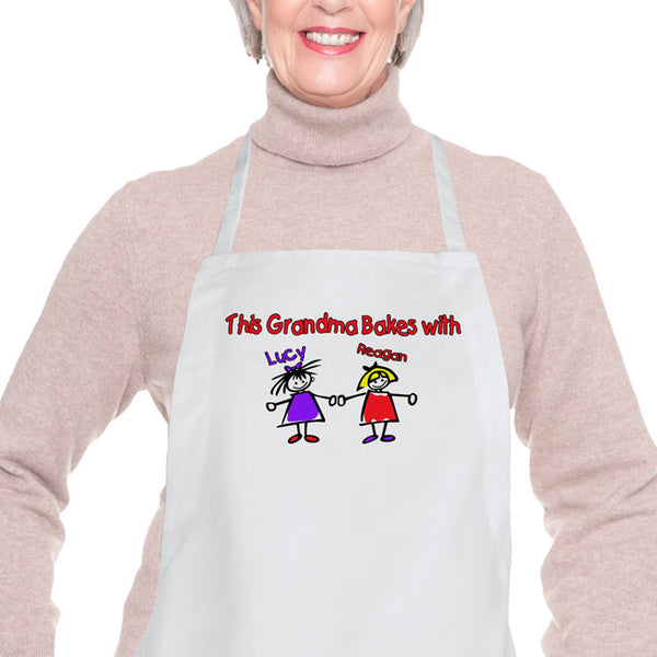 Any Title along with illustrations of grandchildren on a bib apron for Grandma