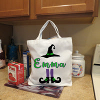 Halloween Tote bag shown on counter filled with groceries