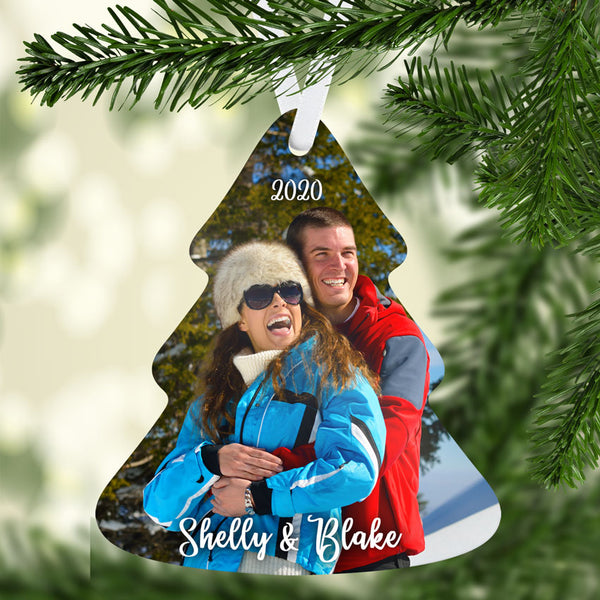 Tree shaped photo Christmas ornament printed on both sides with the same design