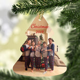 tree shaped ornament with photo of 5 people standing close together. Any year and text along with your picture