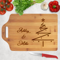 Wood Cutting Board with extended slot handle personalized with sleek Christmas Tree design and any names