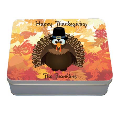 Rectangle Gift Tin with Pilgrim Turkey on fall leaves backdrop and two lines of custom text.
