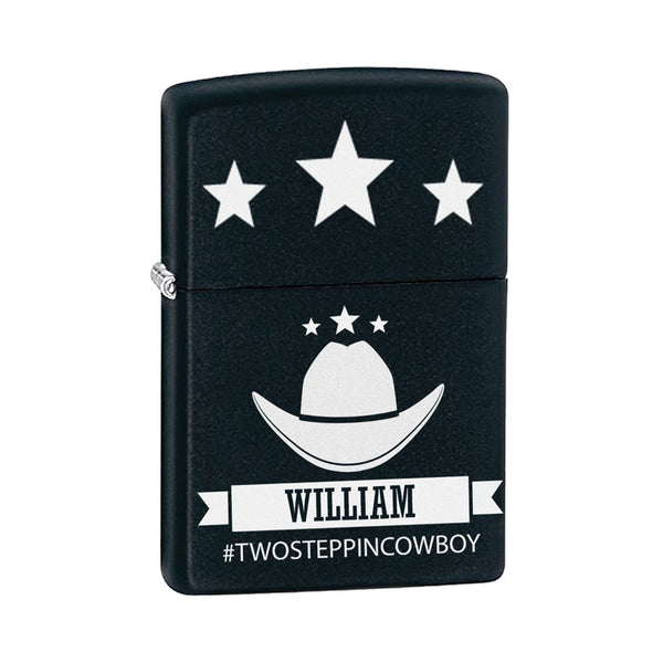 Personalized Zippo® Lighter - Engraved Country Cowboy Theme and your name