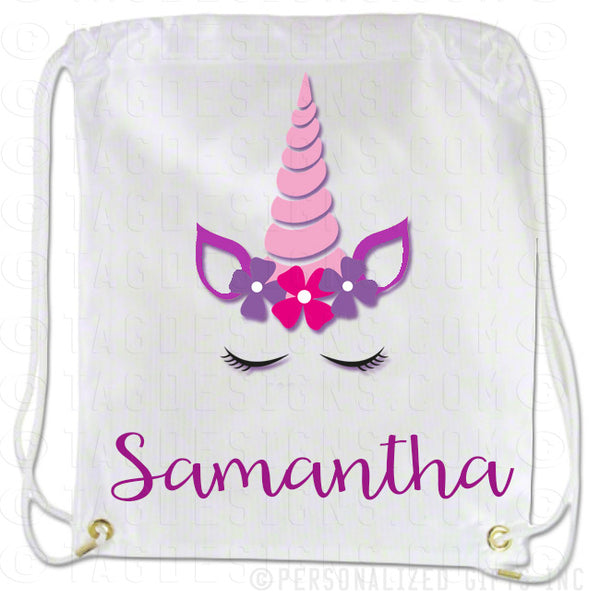 Unicorn Draw String Back Pack Personalized
