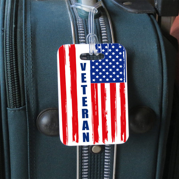 distressed USA flag luggage tag personalized with Veteran on side 1 and your contact info on side 2
