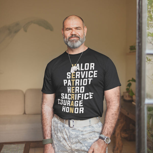 Black Tee Shirt with Veteran going down in gold and words off set from the letters of Valor, sErvice, paTriot, hEro, sacRifice, courAge, hoNor