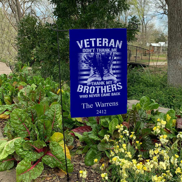 Veteran Brothers Thank You Yard Flags Personalized with any text